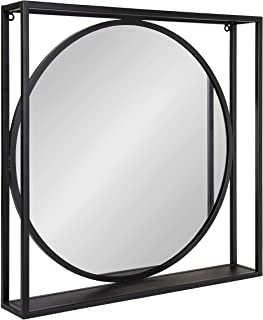 Kate and Laurel Metal McCauley Wall-Mounted Mirror with Wooden Shelf, 24