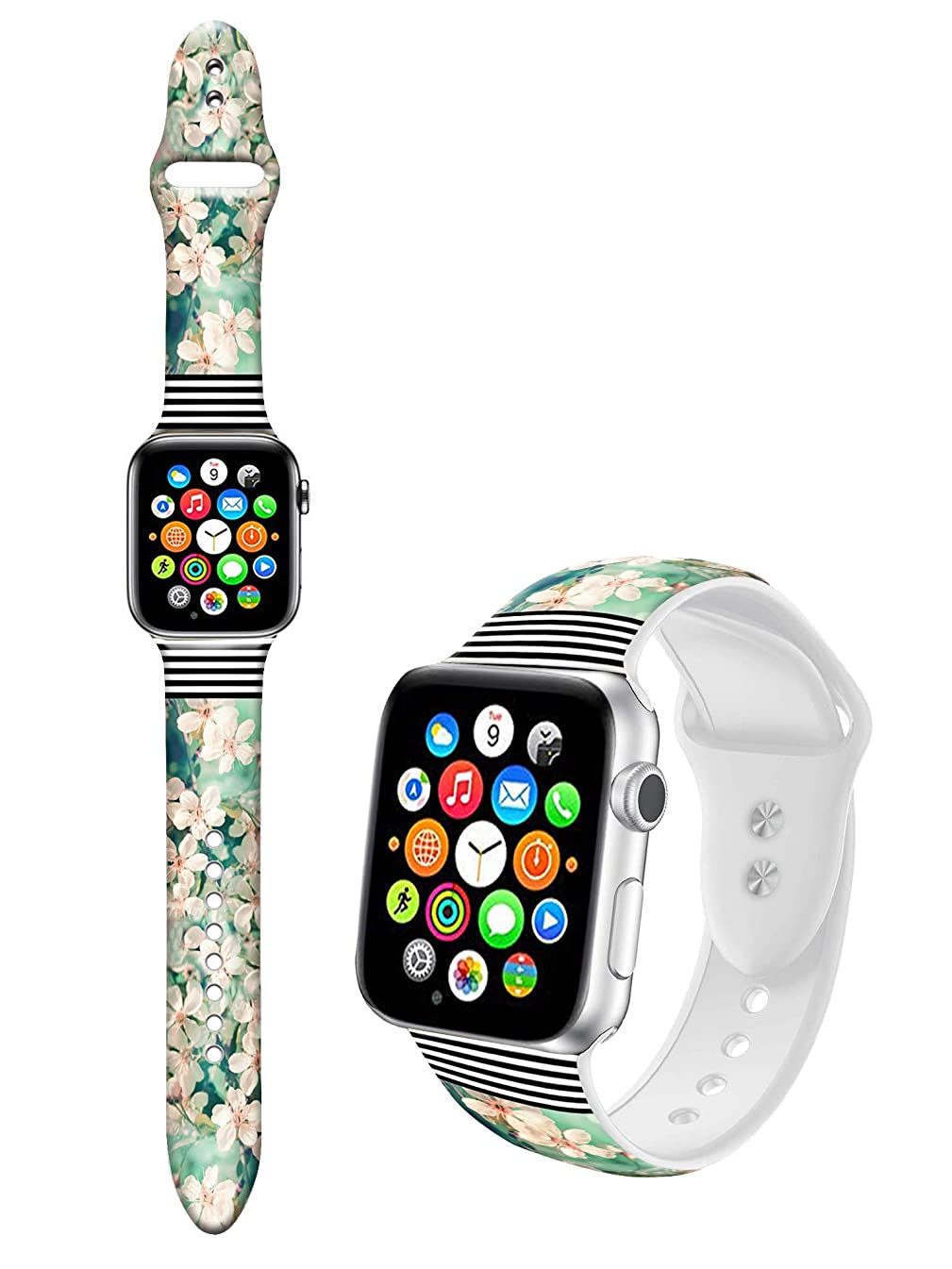 Dseason Sport Bands Compatible with iWatch 40mm, Premium Silicone Strap Womens Bands Compatible for iWatch 38mm/40mm Series 4/3/2/1, M/L Floral Stripes Trend Mix