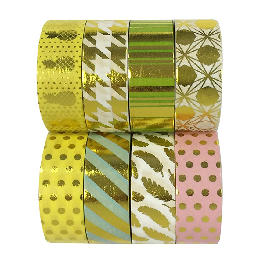 Wrapables Metallic Foil Washi Masking Tape Collection (Set of 8), 08WPSET09