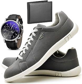 Kit Sapatênis Sapato Casual Com Relógio e Carteira Masculino JUILLI 900DB