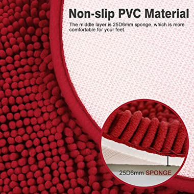 MAYSHINE Chenille Non-Slip Bathroom Rug Love Shaped Shag Shower Mat Machine-Washable Bath Mats Lovely Heart with Water Absorb