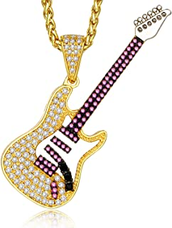14k Gold CZ and Amethyst Electric Guitar Pendant Necklace for Men and Women, 26''