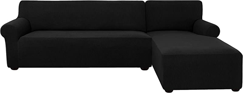 Subrtex 2 Pieces L Shaped Couch Covers Stretch Fabric Sectional Sofa Slipcovers Right Chaise 2 Seats Black