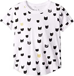 Soft Vintage Jersey All Over Black & Gold Cat Print Short Sleeve Shirttail Crew Neck Tee (Little Kids/Big Kids)