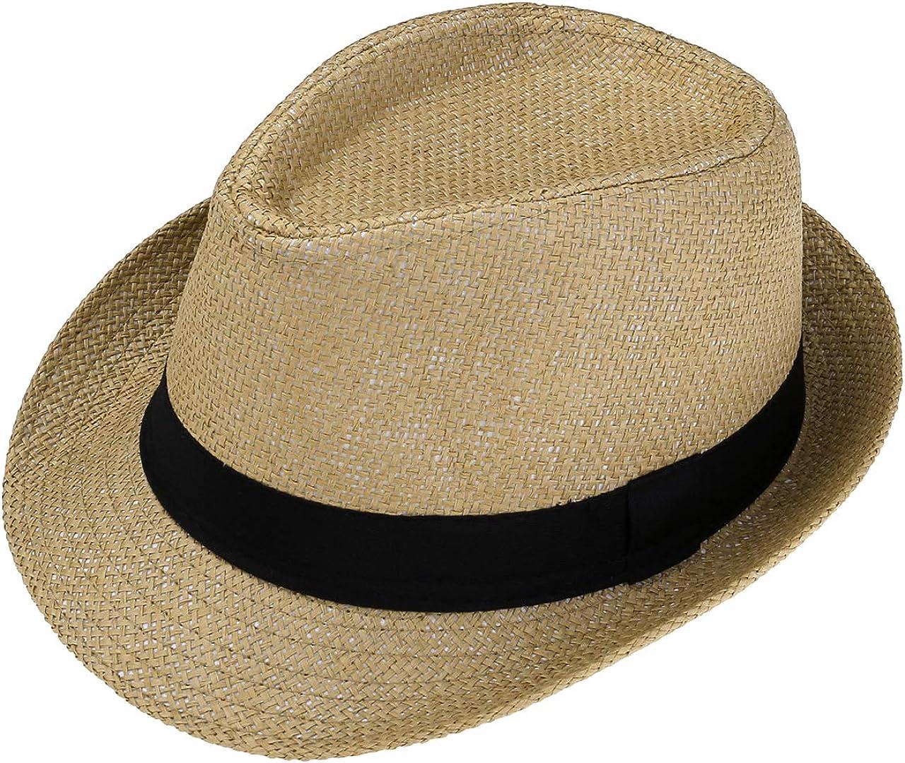 FALETO Unisex Summer Panama Straw Fedora Hat Short Brim Beach Sun Cap Classic