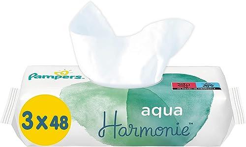 Pampers Lingettes Aqua Harmonie, Composée à 99% d'Eau Pure et Sans Parfum ni Alcool, Lot de 6X144 Lingettes (Total 86...