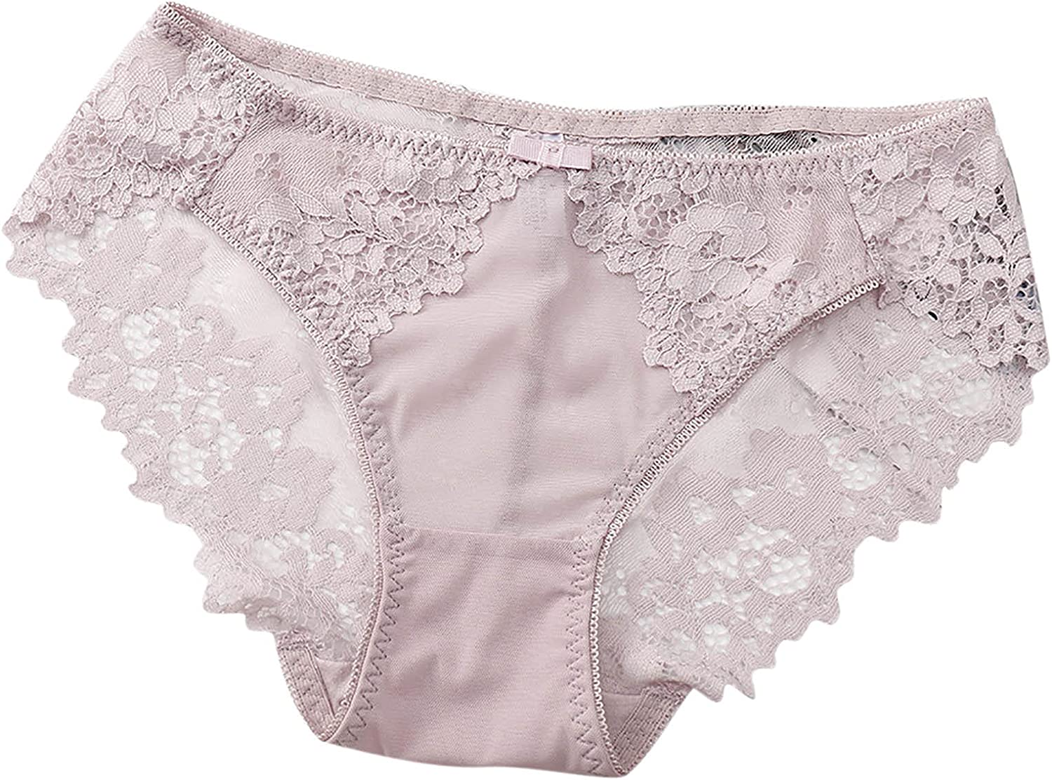 Women's Sexy Lace Panties Mid Waist Elasticity Bowknot Briefs Hipster Mesh Knickers Midnight Lingerie Underwear