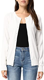 Women's Long Sleeve Button Down Crew Neck Classic Sweater Knit Cardigan