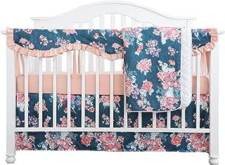 Crib Rail Guard Set Boho Floral Nursery Baby Bedding Ruffled Crib Skirt Crib Rail Cover Set (Coral Navy Peony)