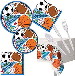 Football Soccer Basketball Baseball Sports Birthday Party Pack Set Serves 16 – Luncheon & Dessert Paper Plates, Napkins & Cutlery – Disposable Party Supplies for Food and Cake