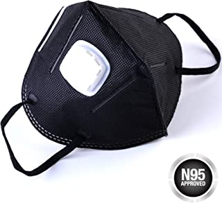 Disposable Dust Masks (20 Pack), Black NOISH Dustproof Masks with Exhalation Valve - Safety KN95 Particulate Respirators for Construction, Home, DIY Projects - Carbon Activated