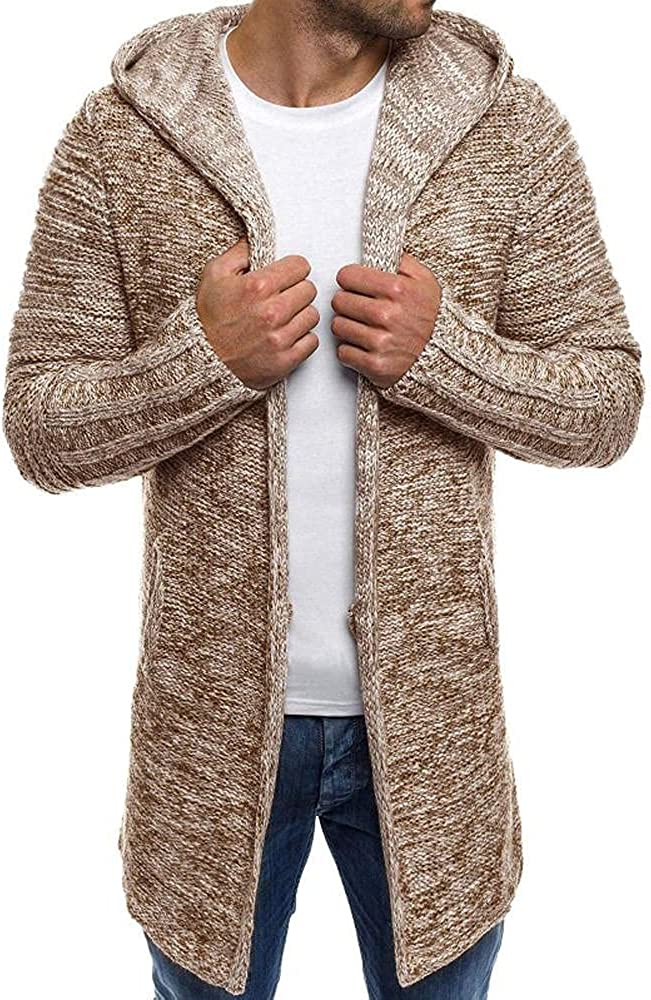 Huangse Men's Solid Color Cardigan Sweater Mid Long Knitted Peacoat Winter Zip Front Knit Hoodie Trenchcoat