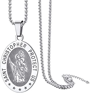 St Christopher Necklace for Men Stainless Steel Chain Saint Christopher Medal Pendant