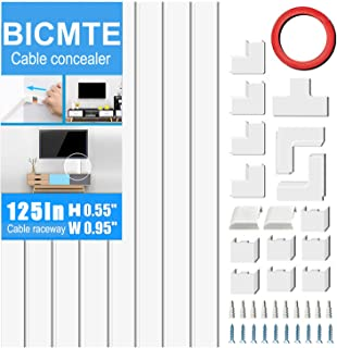 Cable Concealer On-Wall Cord Cover Raceway Kit - Cable Management System to Hide Cables, Wire Hider ,Cords, or Wires - Cord Organizer for Wall Mounted TVs (8X 15.70.950.55 Accessories Included)