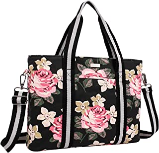MOSISO Laptop Tote Bag (Up to 15.6 Inch), Canvas Classic Rose Multifunctional Work Travel Shopping Duffel Carrying Shoulder Handbag Compatible Notebook, MacBook, Ultrabook and Chromebook, Black