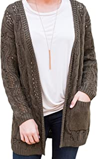 Drop-Shoulder Open Front Knit Cardigan with Pocket Women's (Color : Army Green, Size : L)