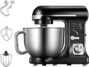 میکسر پایه ، 5.5 Qt میکسر آشپزخانه برقی 6 سرعته با دو قلاب دوغ ، تپنده های تخت ، وایپر