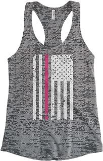 Cybertela Women's Thin Pink Line American Flag Burnout Racerback Tank Top