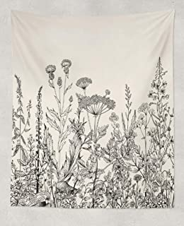 Soopat Botanical Tapestry, Wall Hanging Floral Border and Wild Flowers Botanical Flower Vintage Hanging Wall Decor Wall Tapestry for Home Decor Room Decoration 50 X 60 Inches Black and White