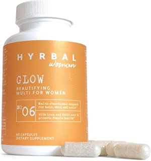 Hyrbal Glow Hair, Skin, and Nails Vitamins | 600mcg Biotin, Iron, Folic Acid, PABA, L Tyrosine, Saw Palmetto | All Natural...