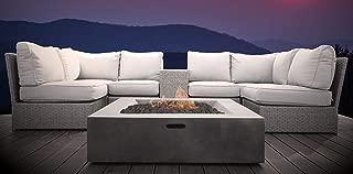 Living Source International Lucca Wicker 8-Piece Fire Pit Lounge Set (Grey)
