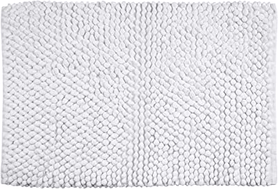 "Better Trends Chenille Rocks Collection is Ultra Soft, Plush and Absorbent Tufted Bath Mat Rug 100 Percent Cotton in Vibrant Colors, 24"" x 36"" Rectangle, White,BACR2436WH"
