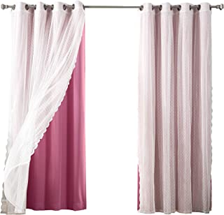 Best Home Fashion Mix & Match Dotted Tulle Lace & Solid Blackout 4 Piece Curtain Set – Antique Bronze Grommet Top –Pink – 52