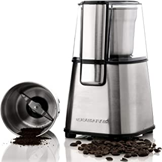 OVENTE Multi-Purpose Electric Coffee Bean Grinder & Spice Grinder, 200W, 2.1 oz, Lid-Activated Switch, Silver (CG620S)