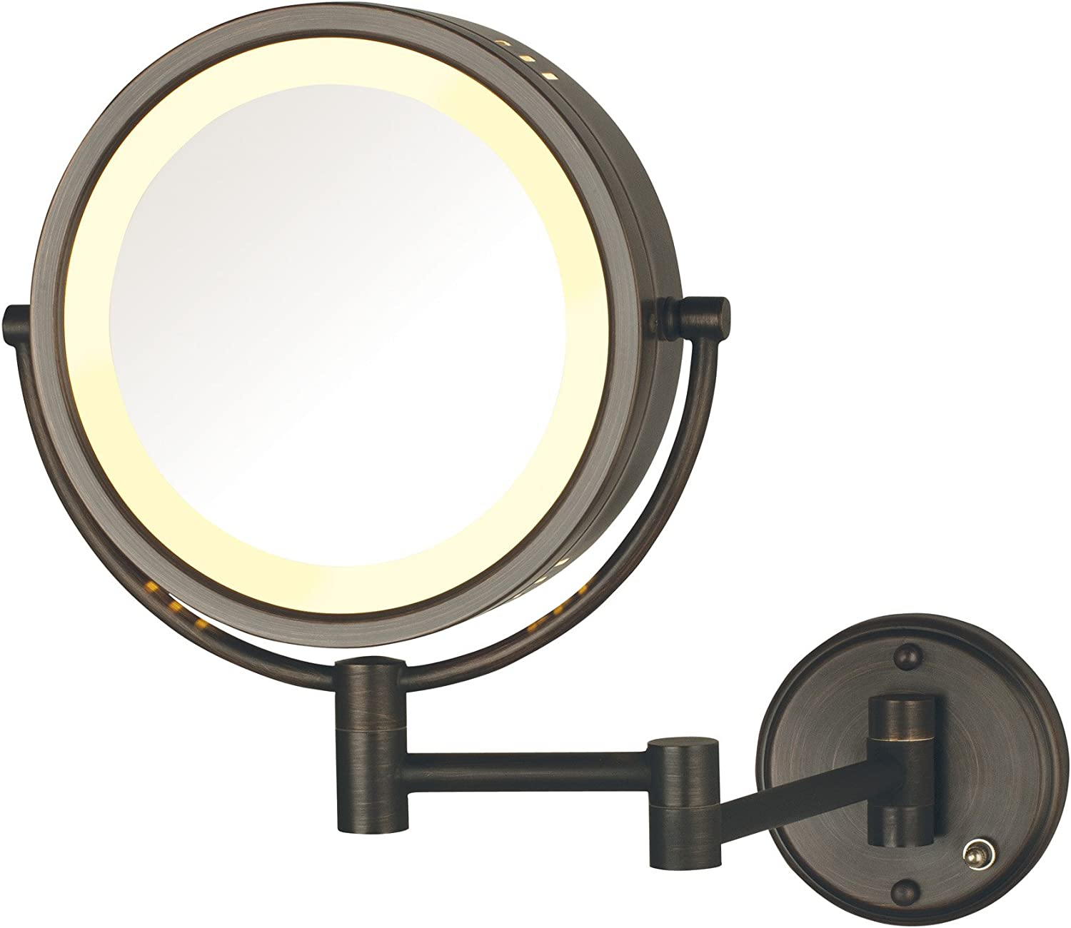 Jerdon HL75BZD 8.5-Inch Lighted Direct Wire Wall Mount Makeup Mirror with 8x Magnification, Bronze Finish