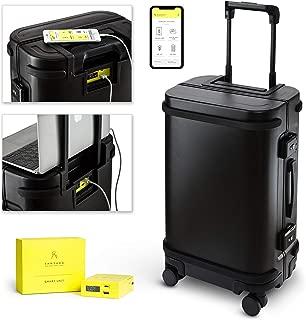 Smart Aluminum Luggage Carry On USB and App 20 Suitcase TSA Lock Matte Black