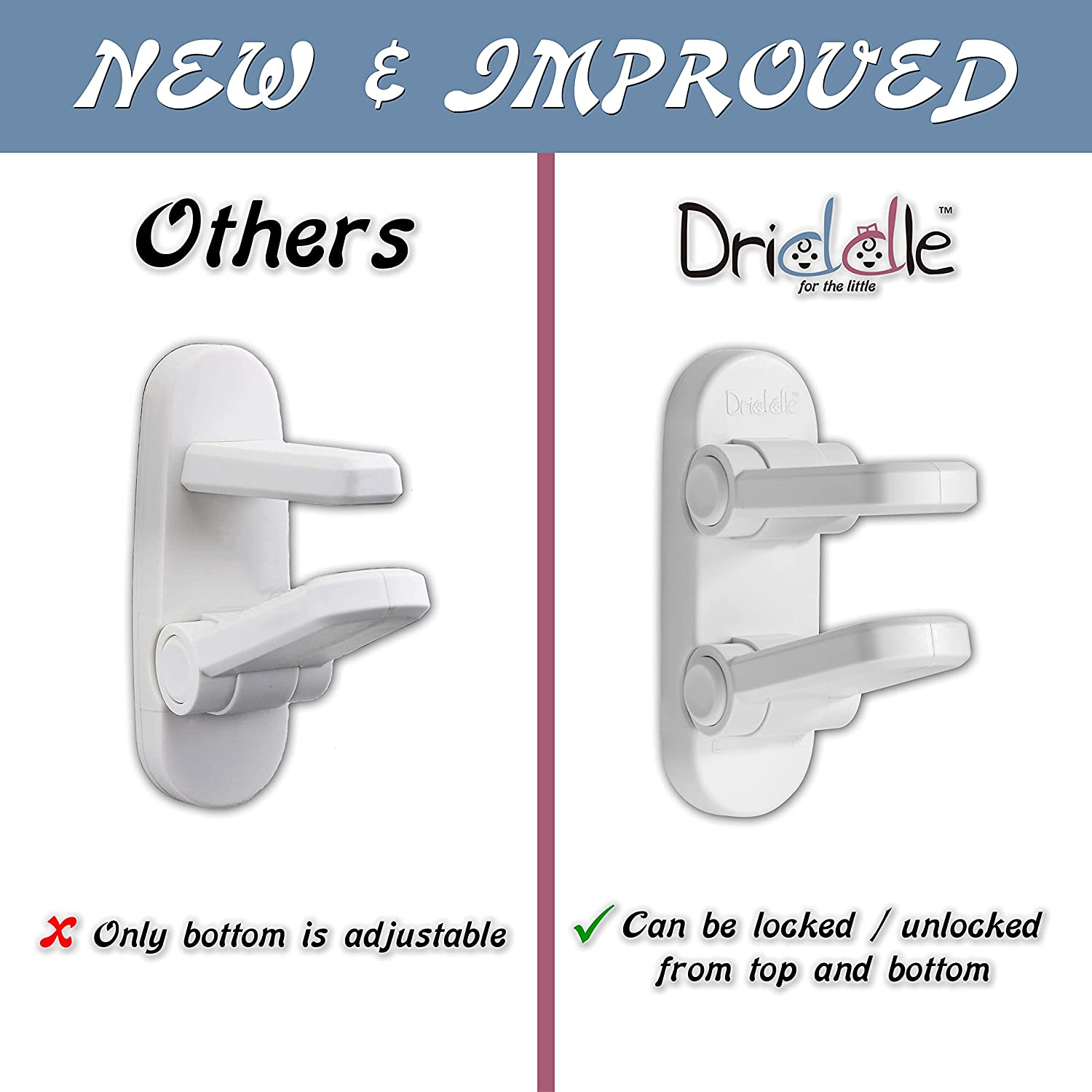 New & Improved Door Lever Baby Safety Lock - Prevent Little Kids from Opening Doors with A Child Proof Door Handle Lock - 3M Adhesive - Driddle