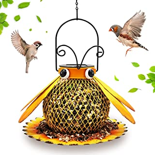 Xiheer Solar Bird Feeder, Wrought Iron bee Shape, Bird Feeder Squirrel Proof, Used to Decorate and Hang Lanterns in courty...