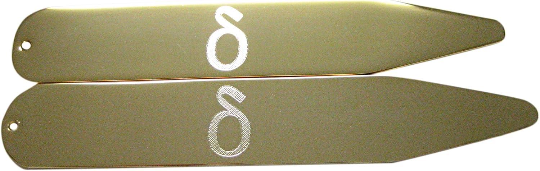 Gold Toned Etched Greek Letter Delta Collar Stays