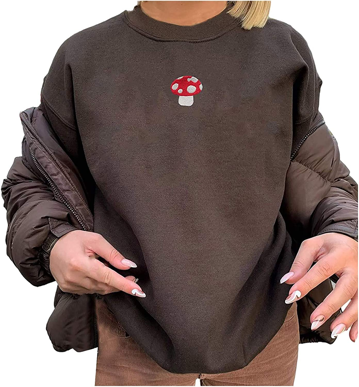Women Oversized Mushroom Sweatshirt Long Sleeve Crewneck Graphic Loose Pullover Tops Vintage Hoodie Shirts Streetwear