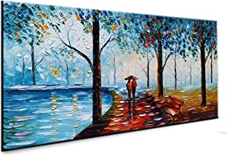 baccow - Handmade Landscape Paintings on Canas, 3D Abstract Contemporary Art Wall Painting Pictures for Living Room Bedroom Bathroom Home Decoration Frames Wall Hanging Room Decor
