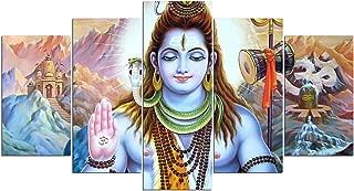 Toopia 5 PCS HD Canvas Printed Wall Art Poster Artwork - Hindu God Lord Parvati Shiva Poster Painting - Home Decor Pictures (8x14inchx 2pcs, 8x18inchx 2pcs, 8x22inchx 1pcs, No Wooden Frame)
