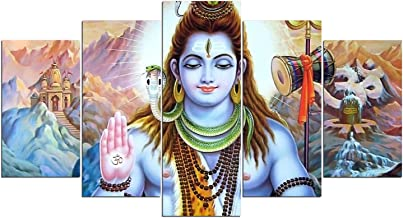 Toopia 5 PCS HD Canvas Printed Wall Art Poster Artwork - Hindu God Lord Parvati Shiva Poster Painting - Home Decor Pictures (8x14inchx 2pcs, 8x18inchx 2pcs, 8x22inchx 1pcs, with Wooden Frame)