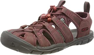 KEEN Women's Clearwater CNX Leather Sandal, Wine/Red Dahlia, 6 UK