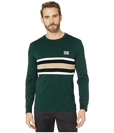 Lacoste Long Sleeve Heavy Jersey Bold Stripe/Color Block T-Shirt Regular (Sinople/Flour/Black/Viennese) Men