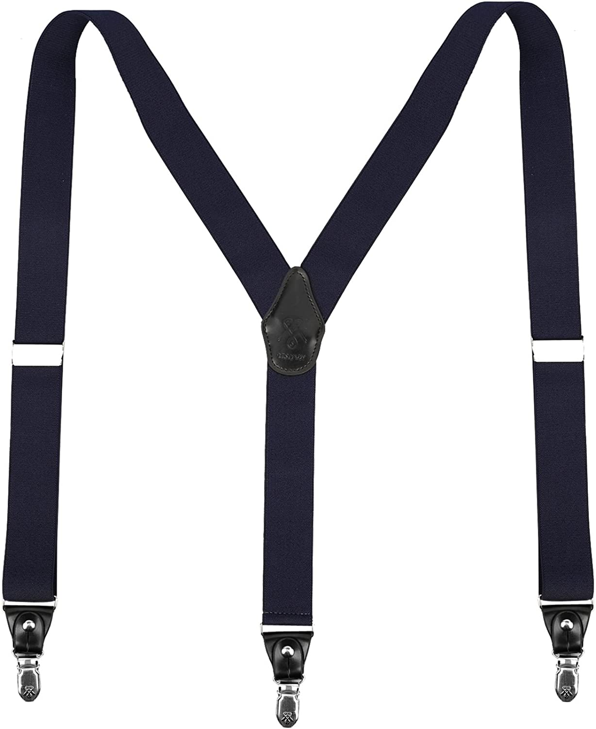 Suspender, Mens Suspenders for Men Black with Strong Clips and Buttons Adjustable