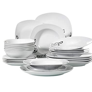 VEWEET 24-Piece Tableware Set Musical Note Patterns Plate Sets Porcelain Kitchen Plates with Dinner Plate, Soup Plate, Dessert Plate, Bowl, Service for 6 (Melody Series)