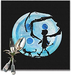 Hidreama Coraline Blue Full Moon Nightmare Cat Place Mats Set of 6, Washable Fabric Placemats for Dining Room Kitchen Table Decor