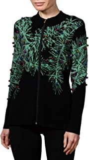 Women's Christmas Sweater | Winter Forest | Zipper Front Holiday Cardigan