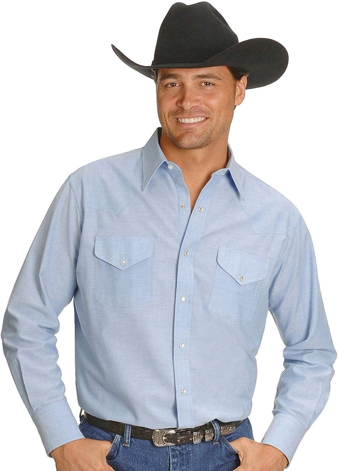 ELY CATTLEMAN Men's Solid Oxford Long Sleeve Western Shirt Big and Tall Light Blue X-Large Tall