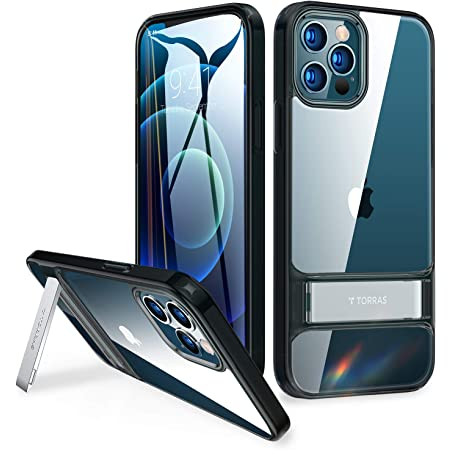 Clear TORRAS MoonClimber Compatible for iPhone 12 Case//iPhone 12 Pro Case with Adjustable Kickstand Slim Shockproof Transparent Phone Case 6.1 inch Armor-Level Protection