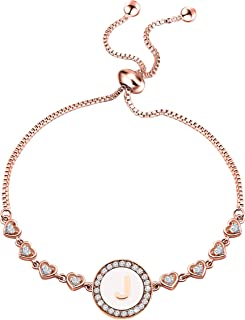 سوار بحرف أولي من الذهب الوردي A-Z من ENSIANTH قابل للتعديل هدية للنساء الفتيات