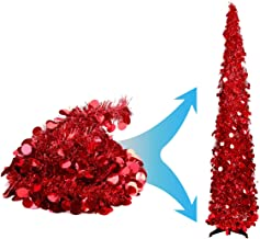 Joy-Leo 5 Foot Shiny Red Fireplace Christmas Tree with Reflective Sequins, Collapsible & Reusable Tinsel Tree for Christma...