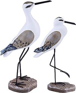 HEALLILY 2 Pièces Décor Côtier en Bois Mouette Figurine Oiseau Statue Nautique Côtier Océan Décoration de La Maison Brun C...
