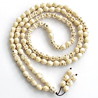 OVALBUY 8x10mm 108 Skull Beads Tibetan Buddhist Prayer Rosary Meditation Mala Halloween Beads