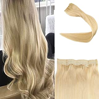 Full Shine 14 inch Color #613 Blonde Hair on a Wire No Clips No Glue Halo Extensions Remy Human Hair Secret Fish Line One Piece 70g Per Set
